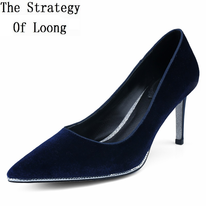 Hot Sale High Quality Pointed Toe Thin High Heels Women Shoes Genuine Leather Upper And Inside Lady Sexy Pumps Sheepskin Shoes 2016 genuine leather hot sale new arrive women pumps high heels pointed toe soft leather bowknot summer party shoes women