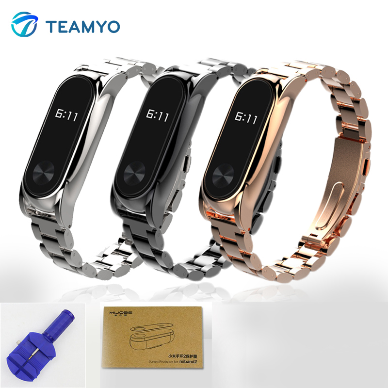 Teamyo Stainless Steel Strap For Xiaomi Mi Band 2 Accessories Smart Bracelet Mi Band2 Metal Strap Replace for Pulseras Miband 2