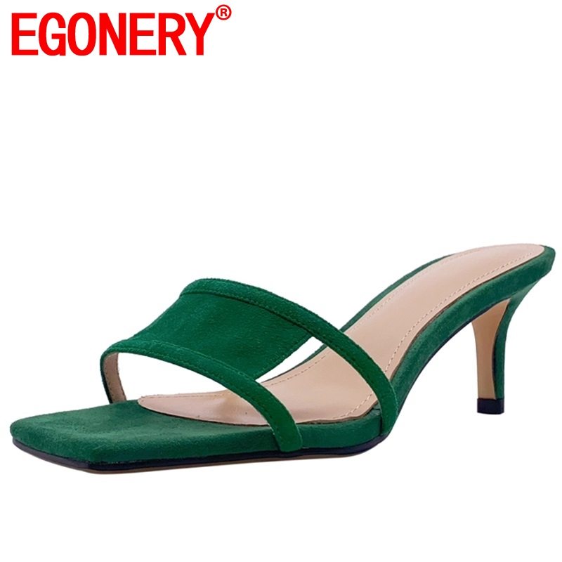EGONERY student genuine cow leather slippers cozy open toe sandals summer green high heels mules shoes