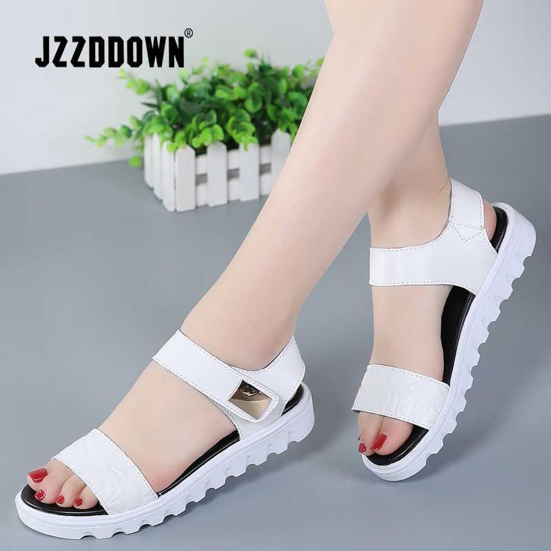 Chính hãng Da Phụ Nữ dép giày phụ nữ Nền Tảng Căn Hộ Bãi Biển Lật Thường Flip Flop giày mùa hè 2018 Thời Trang Giữa Gót giày dép