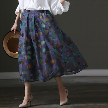 Q1807A Artistic large size loose polka dot pleated scalloped silk skirt woman silk