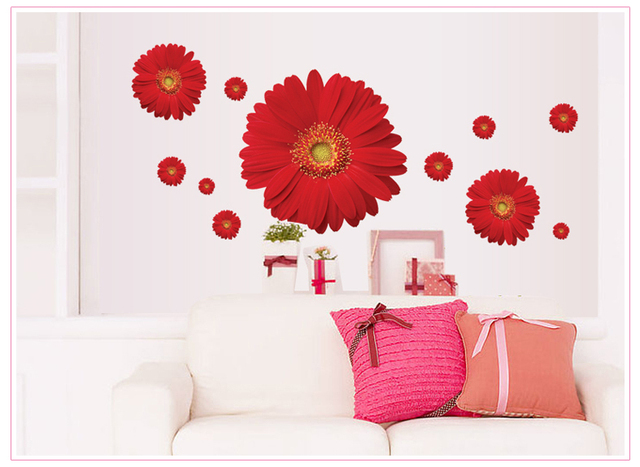 1set zy6015 rdaisy flower living room vinyl 3d wall for Kitchen decoration with flowers