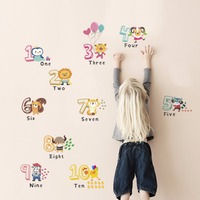 Yanqiao Cartoon Cute Arabic Number Wall Sticker Animals Kids Room Decal Home Decoration Baby Bedroom DIY