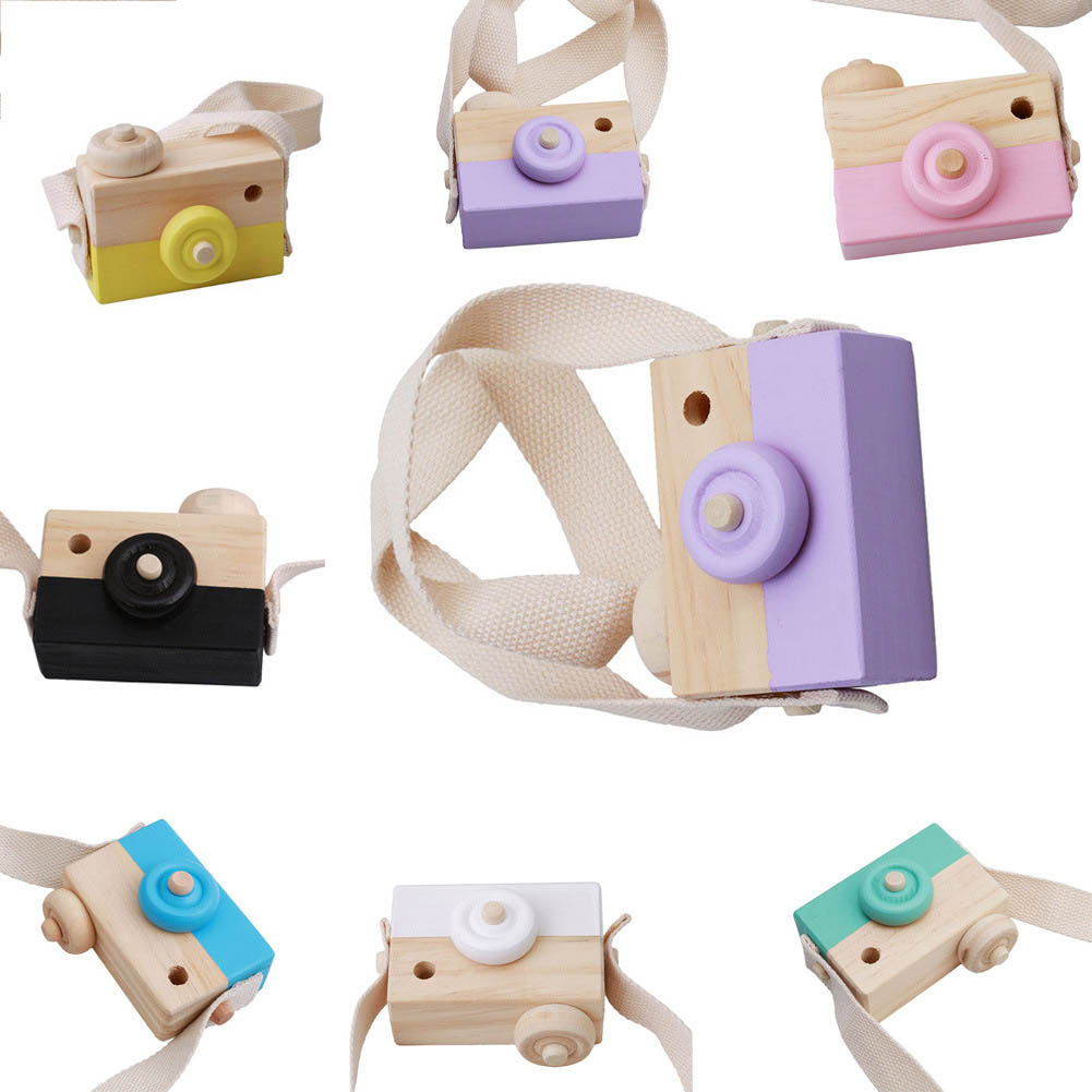 Wooden Camera Kids Toy Baby Gift Children Wood Neck Decor Room Photography -17 S7JN