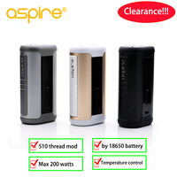 Clearance! Aspire 200W Speeder mod TC Vape by dual 18650 battery electronic cigarette vape Boxing Mod 510 thread vaping mods