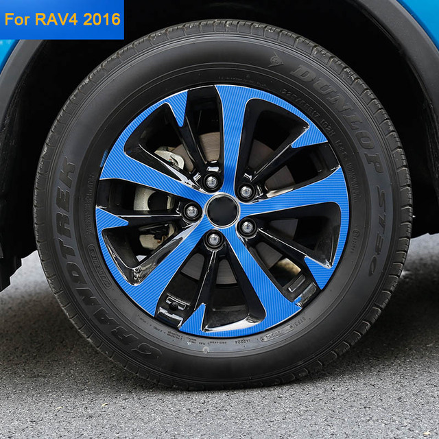 Car Styling Automotive Wheel Hub Sticker Decorative Modified Special Carbon Fiber Protection Decal Stickers for Toyota RAV4 2016
