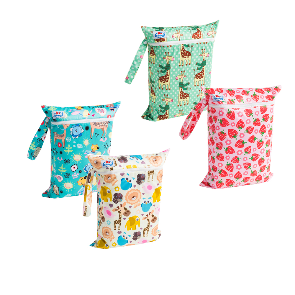 Diaper Bags ( 4pcs/Set) Single Zipper Wetbags Waterproof Multi-Function Bags Dry & Wet Easy Travel Bags Washable Reusable Bags