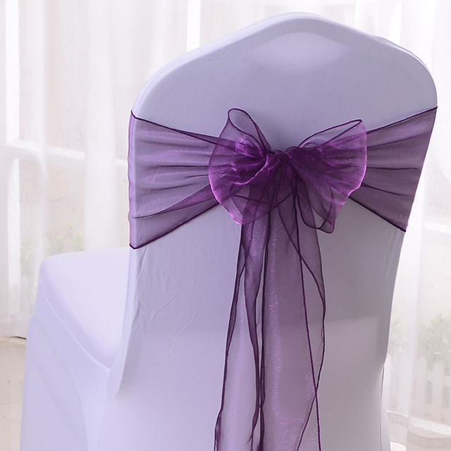 free shipping 100pcs purple organza chair sashes wedding chair bows