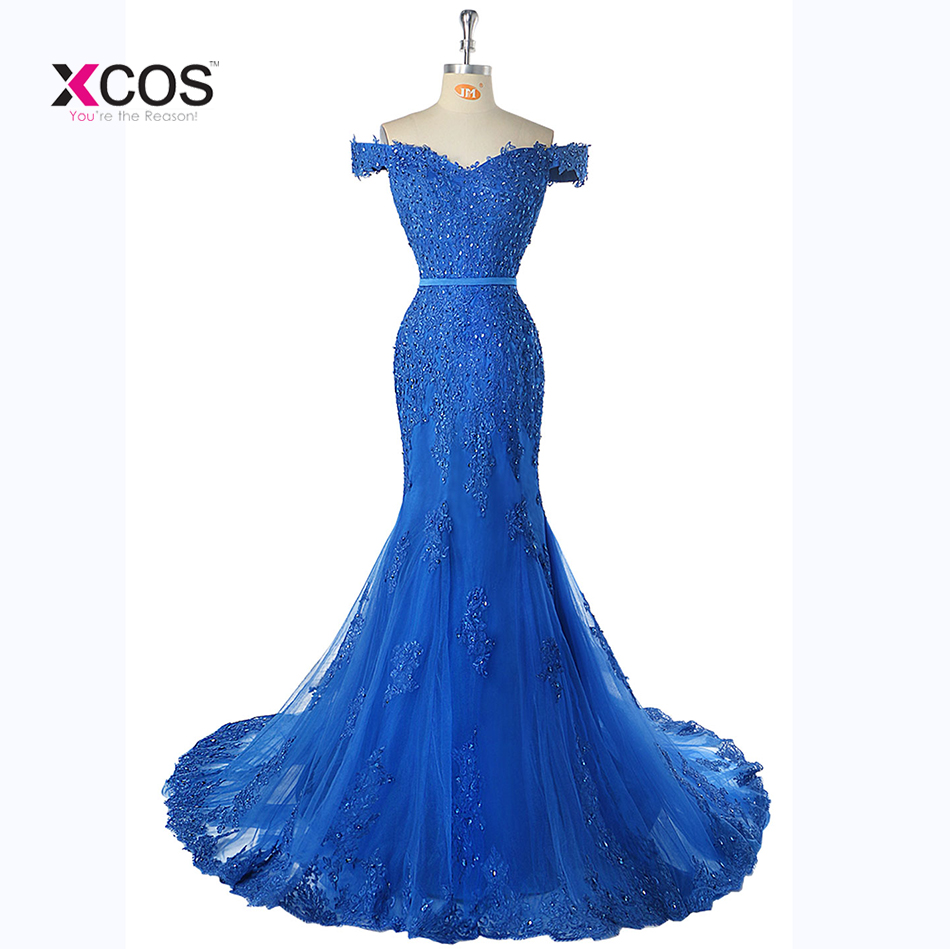 2018 Royal Blue Lace Mermaid   Evening     Dresses   Veatidos Off Shoulder Beaded Appliques Tulle Floor Length Long   Evening   Gowns