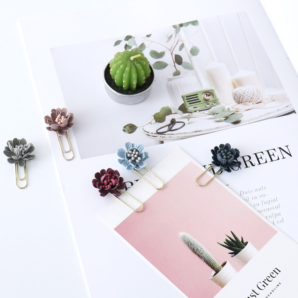 TUTU 6pcs/box Flower Paper Clips De Papel Notes DIY Bookmark Metal Binder Clips Fish Clips Notes Letter Paper Clips H0255