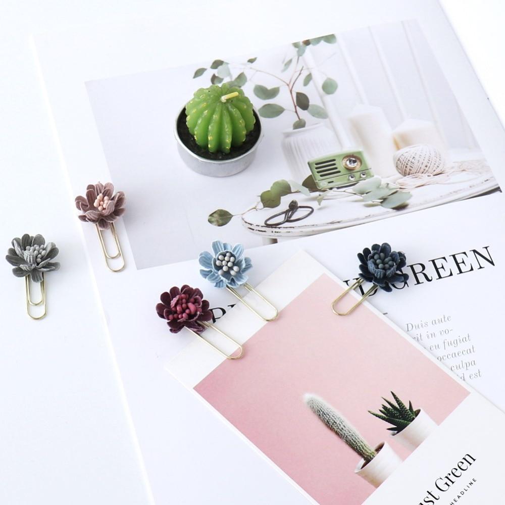 TUTU 6pcs/box Flower Paper Clips De Papel Notes DIY Bookmark Metal Binder Clips Fish Clips Notes Letter Paper Clips H0255