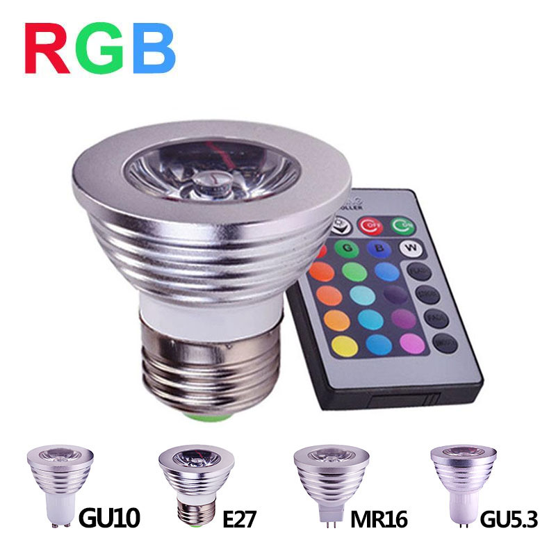 E27 RGB LED Spotlight 4W LED Lamp GU10 GU5.3 MR16 LED RGB Light Bulb High Power 16 Color Change Home Decoration Remote Control agm rgb led bulb lamp night light 3w 10w e27 luminaria dimmer 16 colors changeable 24 keys remote for home holiday decoration