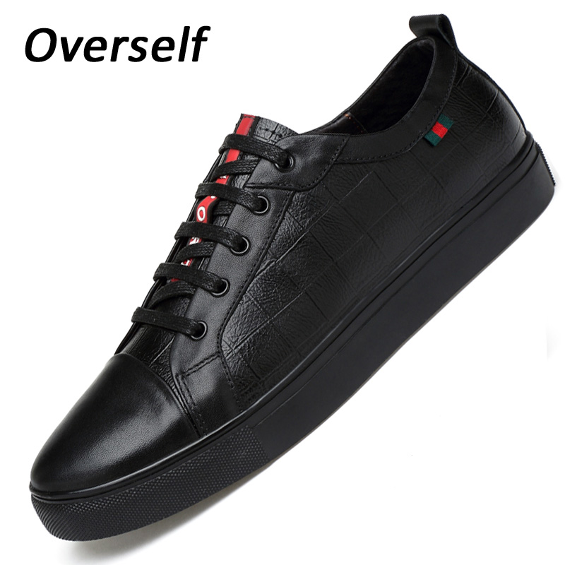 Breathable Spring Plus Size 37 to 48 Men Flats Shoes Luxury Fashion mens Casual shoe High Quality Genuine Leather Shoes For Man стоимость