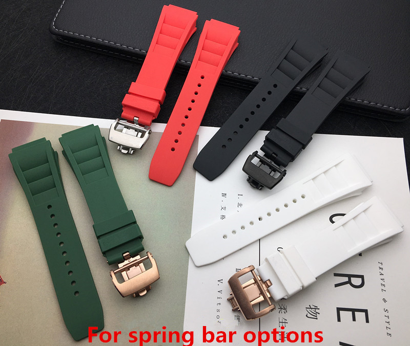 Black Red White Green 20mm Soft Nature Soft Silicone Rubber Watchband For Richard Watch Mille Strap Band Butterfly Buckle Logo