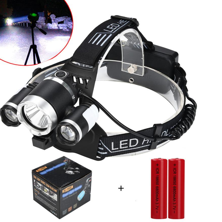 15000LM 3x XM-L T6 LED +2LED Rechargeable 18650 Headlamp Head Light Torch Bike Cycling Fishing Hunting Lantern White Light P5 950lm 3 mode white bicycle headlamp w cree xm l t6 black silver 2 x 18650