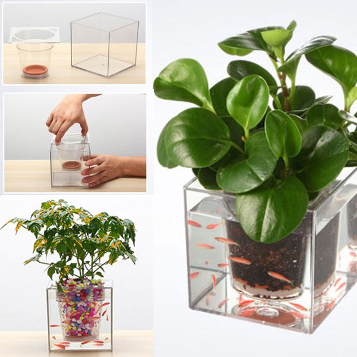 office flower pots. crystal cube flower pot transparent fish tank office desktop automatic drip irrigation resin plastic plant planterin vases from home u0026 garden on pots n