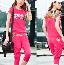 Sweatshirts Summer new Korean female short-sleeved suit casual track pant women summer 43024