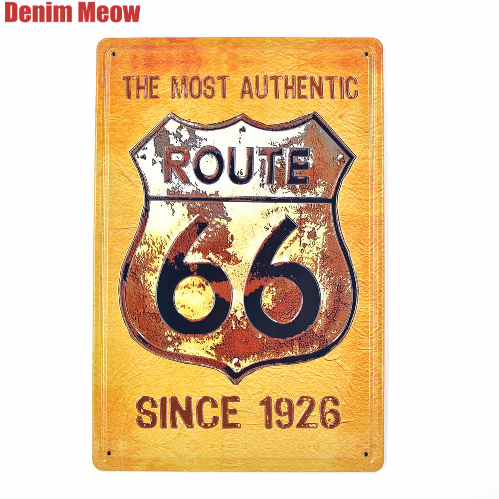 New Route 66 Vintage Embossed Metal Tin Signs Home Bar Garage Pub Decorative Plates Motorcycle Wall Stickers Art Painting AT001