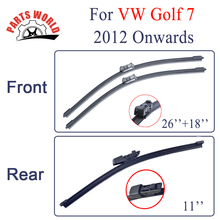 Combo Silicone Rubber Front And Rear Wiper Blades For VW Golf A7 type 5G 2012 Onwards