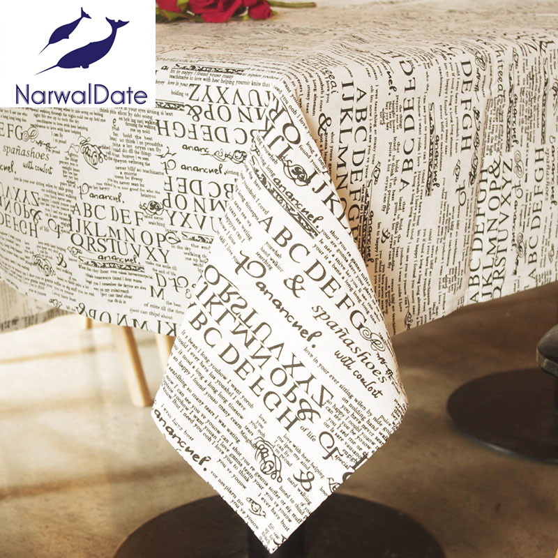 tablecloth cotton linen table cloth letters print table. Black Bedroom Furniture Sets. Home Design Ideas