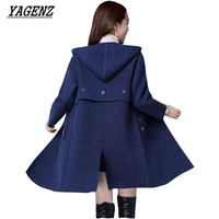 YAGENZ High Quality Autumn Winter Women Knitted Cardigan 2017 Korean Knit Sweaters Thick Coat Casual Hooded