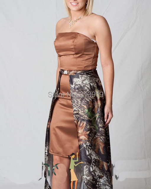 Free Shipping Straplesmossy Oak Short Camo Prom Dress Removable