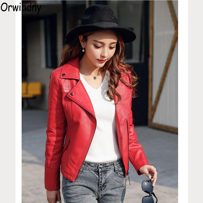Orwindny 2019 printemps automne cuir vêtements femmes motard régulier veste en cuir femme Faux cuir rouge Zipper manteau ont des poches