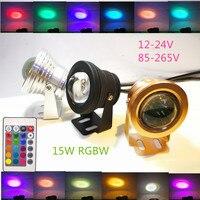 Nouveau 15 W RGBW LED Sous-Marine Spot Light Jardin Piscine Lampe 12-24 V ou 85-265 V Étanche RGB + Chaud/blanc Froid + à distance 3 couleur shell
