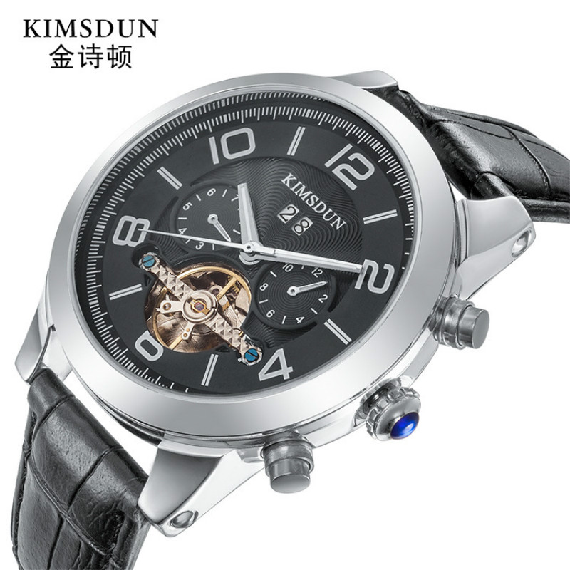 Kimsdun Fashion Tourbillon Mens Watches Top Brand Luxury Automatic Mechanical Watch Waterproof Leather Wristwatch Holiday GiftsKimsdun Fashion Tourbillon Mens Watches Top Brand Luxury Automatic Mechanical Watch Waterproof Leather Wristwatch Holiday Gifts