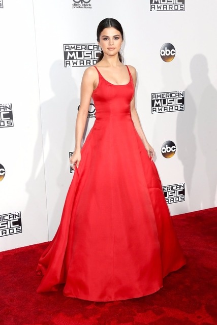 2016 AMA Selena Gomez Celebrity Dresses with Spaghetti Straps Backless Formal  Dress Red Carpet f9e8b03656d4