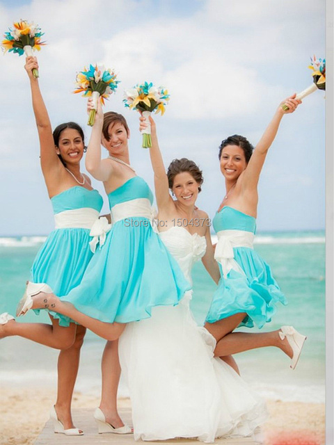 Us 69 9 Cheap Beach Wedding Bridesmaid Dresses 2015 Blue Skirt And White Sashes Maid Of Honor Short Dress Party Prom Gowns For Girls On