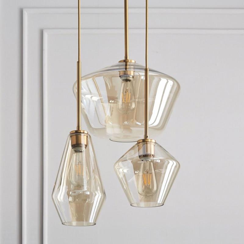 Nordic Modern Glass Pendant lights Fixtures Loft LED Hanging Pendant Lamp for Kitchen Restaurant Living Room Bedroom E26 E27