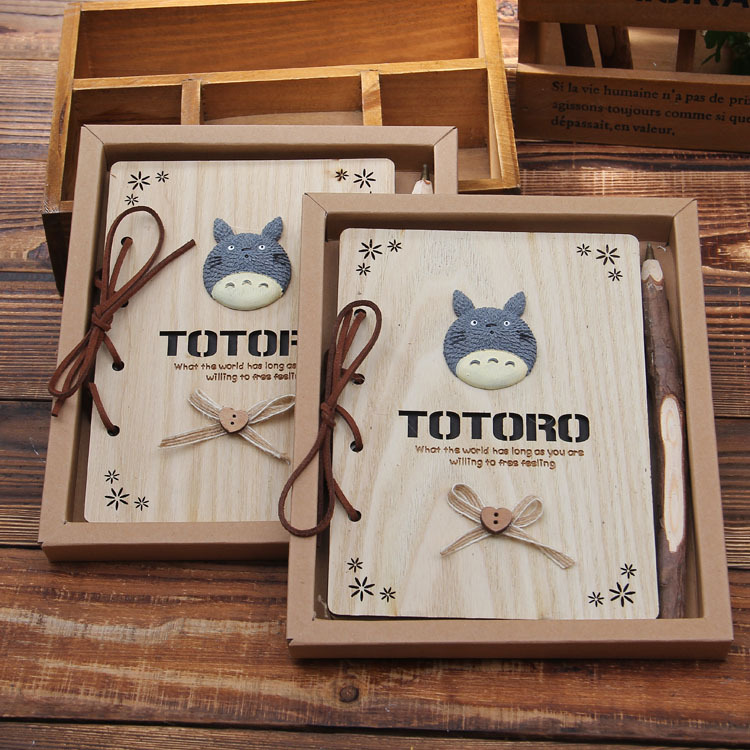 Kawaii Notebook Totoro Cute Wooden Agenda Creative Stationery Vintage Korean Diary Notepad School Supplies dolphin kid notebook cartoon password diary lockable korea stationery notebook kawaii notepad school supplies lovely xmas gift