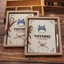 Kawaii Notebook Totoro śliczne drewniane Agenda kreatywne artykuły papiernicze Vintage koreański pamiętnik notatnik artykuły szkolne