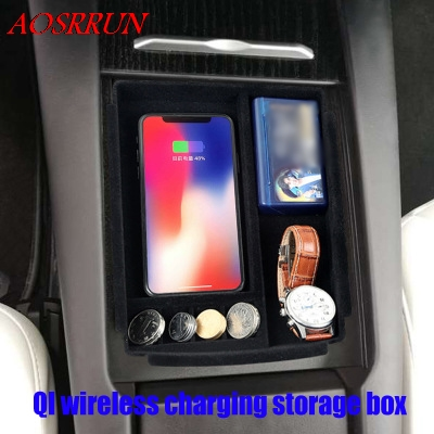 QI wireless charging box For Tesla Model X 2015-2017 Central Storage Pallet Armrest Container Box Cover Kit Trim car styling for infiniti qx50 plastic central slot storage box decorative cover trim 1pcs 2 color for choice