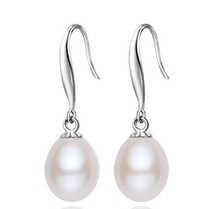 Women Gift word 925 Sterling silver real Fashion simple Silver Natural Freshwater Pearl Earrings, white