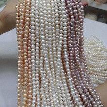 Бусы из натурального пресноводного жемчуга, высокое качество, 36 см, бусины для рукоделия, для женщин, ожерелье, браслет, изготовление ювелирных изделий, 3 цвета