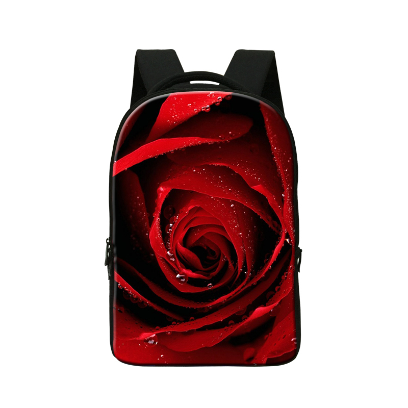 personalized Computer back packs for girls Red rose flower printing Laptop Sleeve 14 Inch travel bag