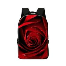 Персонализированные Компьютер рюкзаки для девочек, Красная роза цветок печати Laptop Sleeve 14 Дюймов, дорожная сумка для подростков девушка рюкзаки