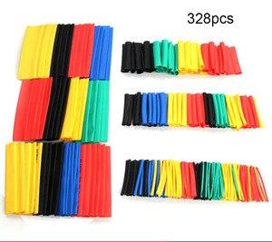 328 pièces 2:1 polyoléfine rétrécissement assorti thermorétractable Tube enveloppe fil câble isolé gaine ensemble de tubes électrique câble tube