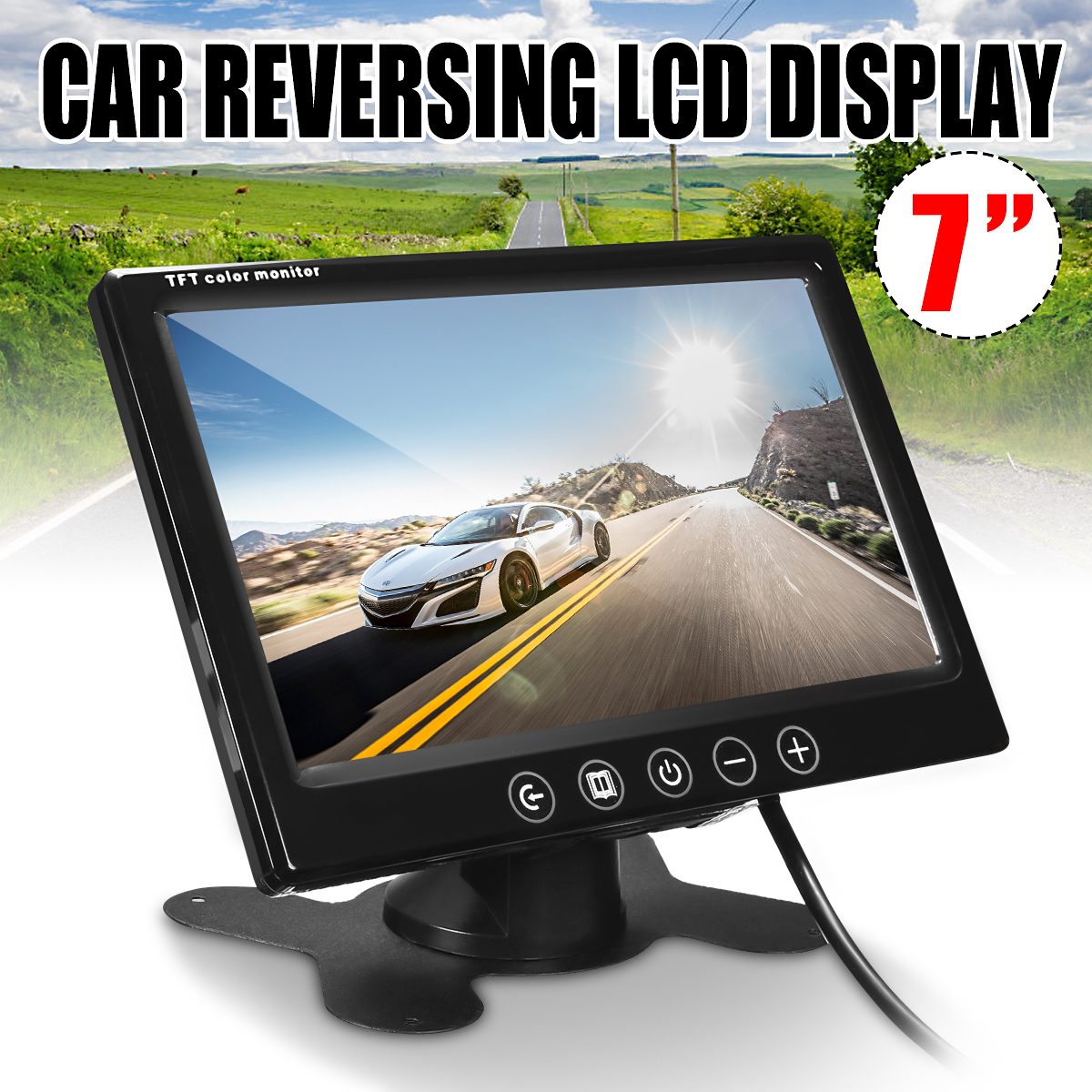 7 Inch Split Screen Quad Monitor 4CH Video Input Windshield Style Parking Dashboard for Car Rear View Camera Car-styling car rear view system 7inch tft colour quad 4ch video input car monitor for reverseing cctv car camera monitor