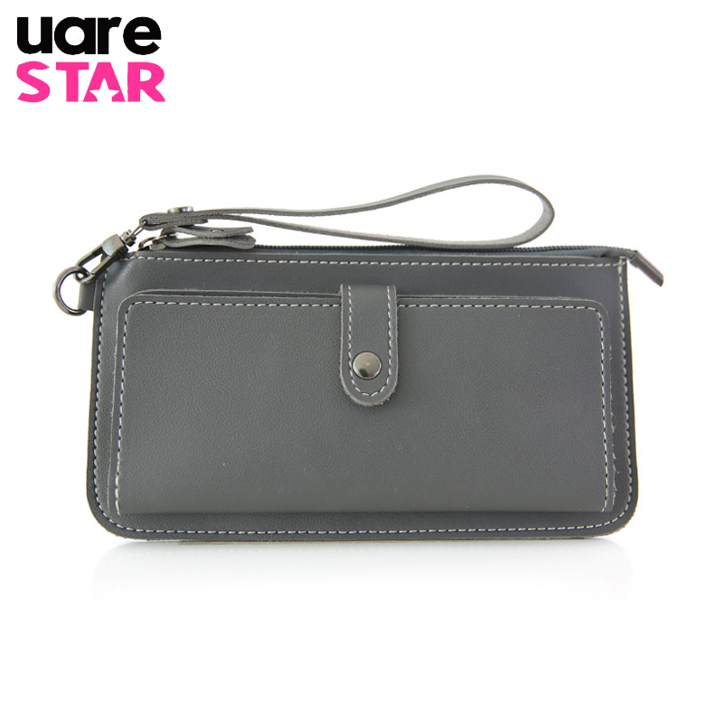 цена на 2017 Women's Purse High Quality PU Leather Women's Wallet Zipper Bag Vintage Female Wallet Purse Fashion Card Holder Phone Bag