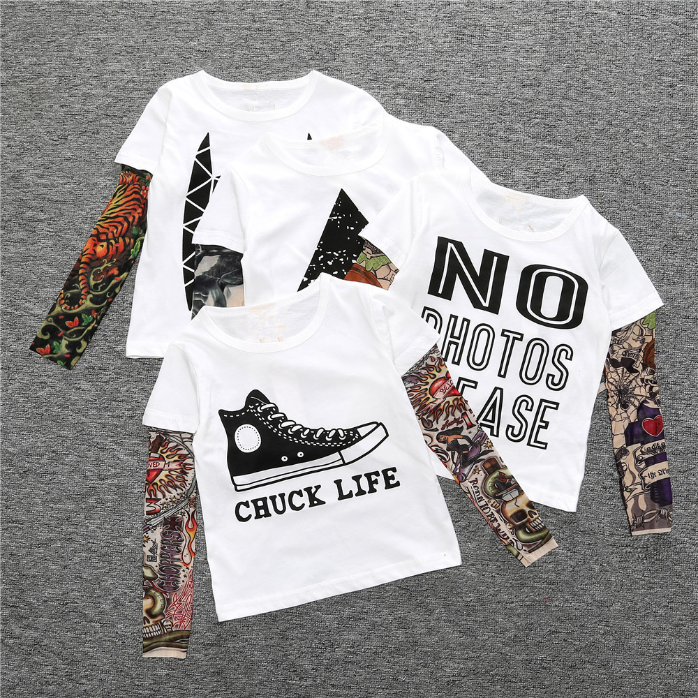 Fake Tattoo Sleeve Hip-Pop Boys T-Shirts Long Sleeve 100% Cotton Fashion Baby Boy Clothes Children Jersey 1 2 3 4 5 6 7 Year Top 3
