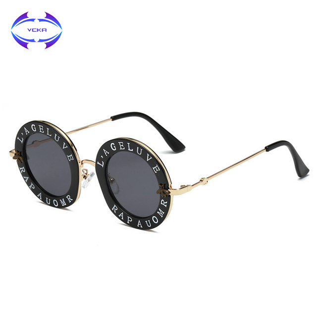 72f0400e1f81 VCKA 7 Colors Retro Round Sunglasses English Letters Little Bee Men Women  Brand Glasses Designer Fashion