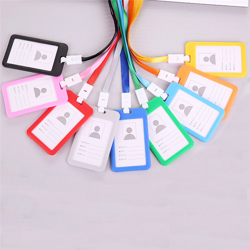 Portable Colorful Employee Plastic ID Card Holder Name Tag Lanyard Neck Strap A30 bicycle pedal
