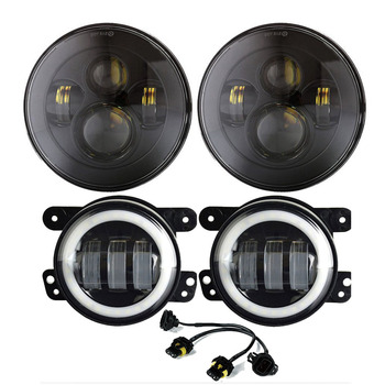 """7"""" LED Headlights with Hi/Lo Beam + 4"""" LED Fog Lights With White Halo Ring for Jeep Wrangler For 1997-2017 JK CJ Front Bumper"""