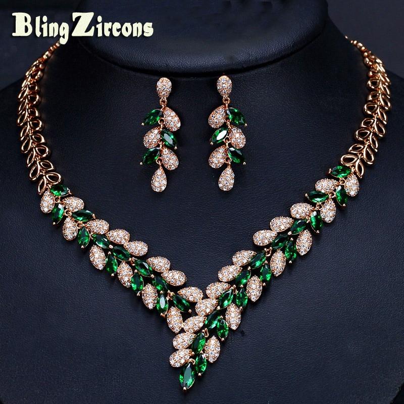 цена на BlingZircons Designer Luxury Dubai Gold Color Green Cubic Zircon Paved CZ Crystal Wedding Necklace Earrings Jewelry Sets JS128