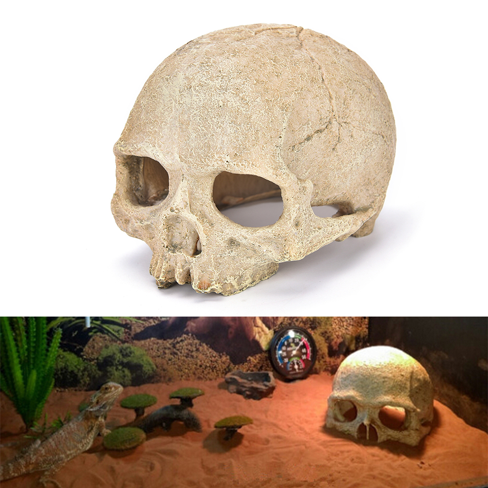 Cool aquarium ornaments - 1pcs Aquarium Resin Hollow Skull Head Cave Ornament Resin Crafts For Aquarium Fish Tank Landscape Decoration Cool Decor