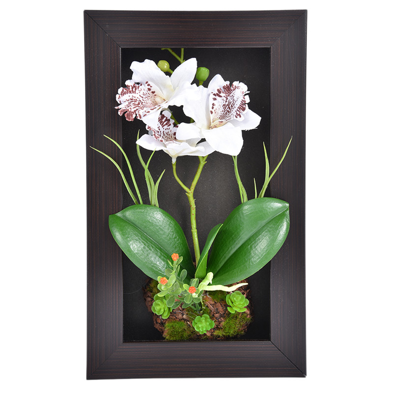 Home Decor 3D Simulation Plant Frame Artificial <font><b>Flowers</b></font> Orchid Arrangement Table Top Decoration Wall Mounted Sculptures 3 Branch
