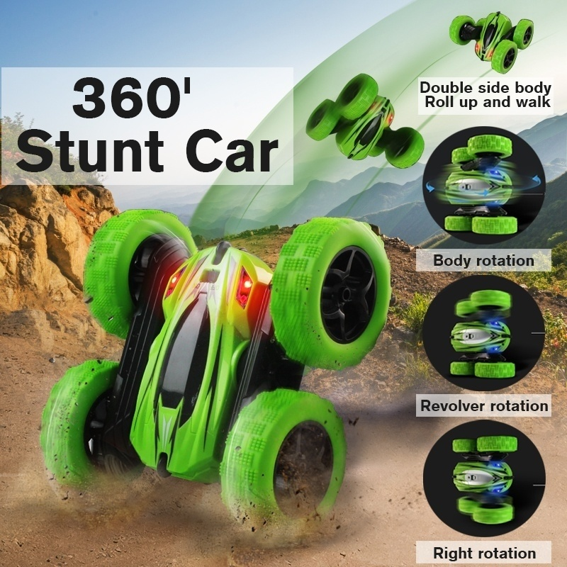 UTTORA Remote Control Cars Stunt Rc Car High Speed Flashing 3D Flip Green Blue Carro Controle